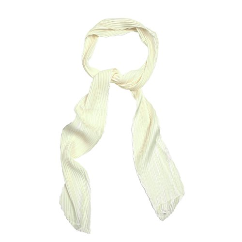 Pleated Tie Neck - IvyFlair Women's Pleated Skinny Neck Scarf Tie, Cream