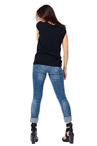 donna da maniche a 3elfen con T estiva Top shirt Olive Designer sbuffo qpnCff