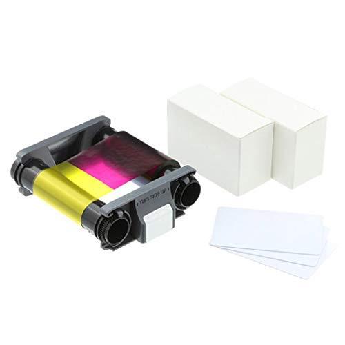 Prints 100 Ribbon (Evolis Badgy 100-200 Color Ribbon YMCKO - CBGP0001C - 100 Prints with Bodno Premium CR80 30 Mil Graphic Quality PVC Cards - Qty 100)