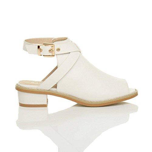 Damen Kleiner Blockabsatz Peep Toe Fesselriemen Stiefel Sandalen Größe 6 39