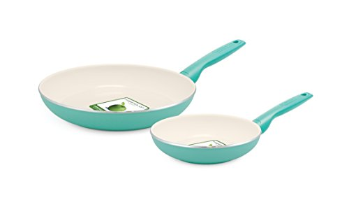 GreenPan Rio 8 Inch and 10 Inch Ceramic Non-Stick Fry Pan Set, Turquoise