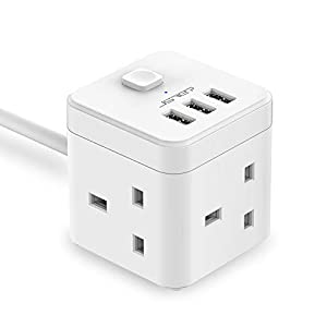 JSVER Cube Extension Lead with USB, 3 Way Switched Power Strip with 3 USB Ports(5V 3.1A) Extension Socket with USB Charging Slots Surge Protector with 1.5M Cable for Home, Office, Hotel, Travel -White