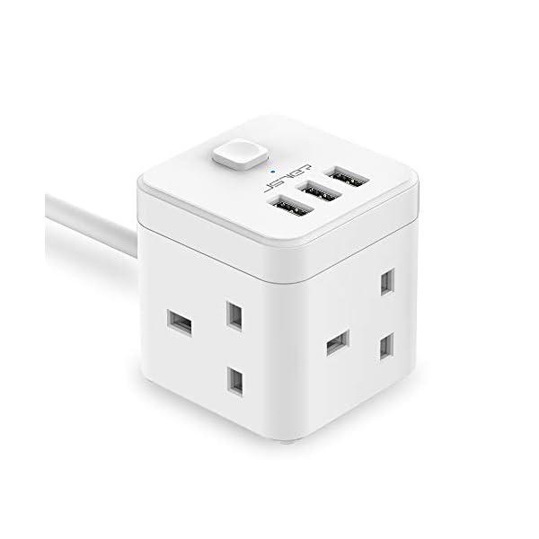 Jsver Compact Cube Extension Lead avec 3 USB Ports 5V//3.1A 3 Outlet Power Strip