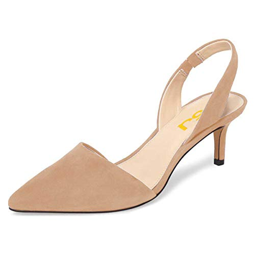 FSJ Women Fashion Low Kitten Heels Pumps Pointed Toe Slingback Sandals Dress Shoes Size 7 Nude