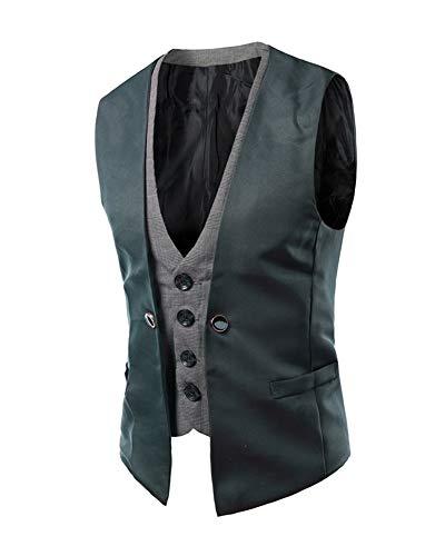 Sans Business Casual De Mariage Manche Pour Homme Costume Veste Gris Gilet 8Tw7Cqw