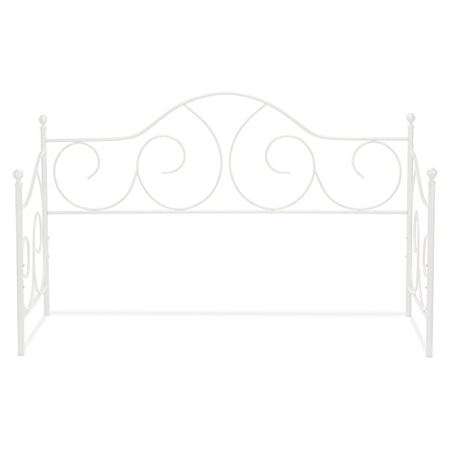 Leggett & Platt Caroline Metal Daybed Frame with Gently Sloping Back and Side Panels, Antique White Finish, Twin ()