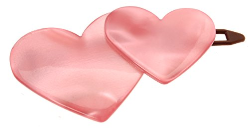 (France Luxe Double Heart Plastic Tige Boule Barrette - Nacro)