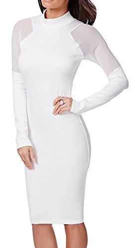 Price comparison product image Zuis Women's Crew Neck Long Sleeve Bodycon Nightclub Sexy Mid Length Dresses