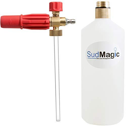 SudMagic Foam Cannon Pressure Washer Gun - Brass Threaded Bottle (Lifetime Warranty) - Car Wash Soap Foam Blaster