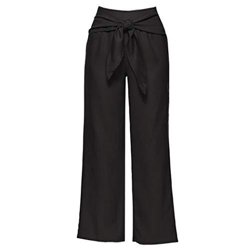 Tuta Pantaloni Annodato Donna Denim Nero Estate Gamba Straight Vita Donne Yoga Casual leg Palazzo Alta Da Cerniera Larga rqE5zwZgxr