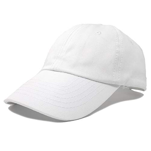 Adjustable Hat Youth - DALIX Unisex Youth Childrens Cotton Cap Adjustable Plain Hat - Unstructured (White)