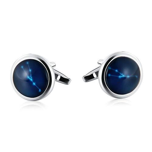 Aooaz Jewelry Men Cufflinks Oval Constellation Stone Aquarius Cufflinks Silver Blue