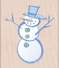 (Painted Snowman Wood Mounted Rubber Stamp (H4232))