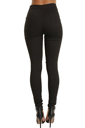 Cintura Las De Roto Tobillo Alta Balck Vaqueros Pantalones Pantalones Casuales Mujeres Skinny FF1wpRqEO