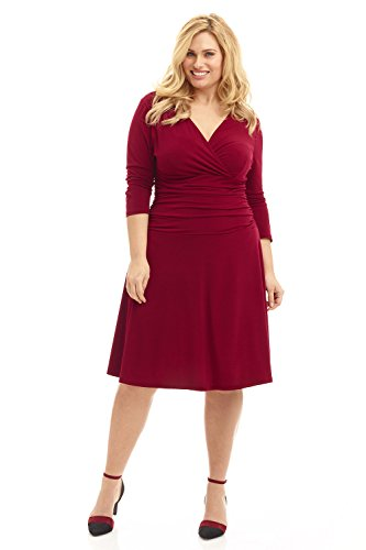 Plus 3/4 Sleeve Woman Wrap - Rekucci Curvy Fit Plus Size Women's Slimming 3/4 Sleeve Tummy Control Dress (24W,Burgundy)