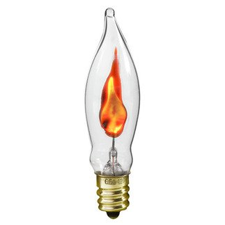 Darice Pack of 2 Clear Flicker Flame Tip Electric Candle Lamp Replacement Light Bulbs