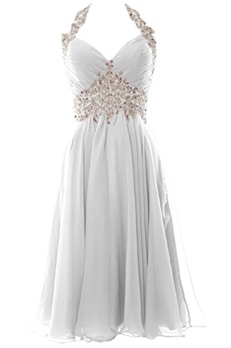 - MACloth Women Halter Short V Neck Lace Wedding Cocktail Party Guest Dress (US12, White)