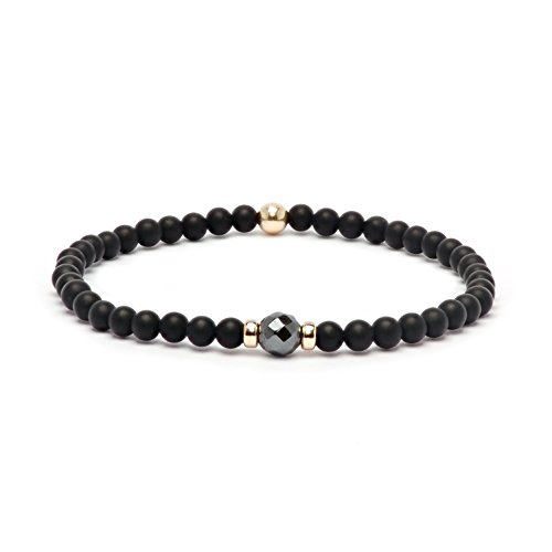 Asortis Black Matt Onyx Hematite Gold Filled 4mm Bead Stretch Bracelet (Hematite) -