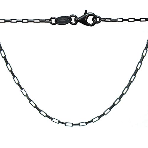 Necklace Chain Box Oxidized - BeadUnion Oxidized Sterling Silver Necklace Chain, Small Box Chain Necklace (16)