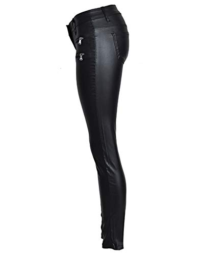Pantalon Skinny lastique Leggings Cuir PU Jeans Enduit Femmes Simili Zipper QitunC Crayon Noir qOYzw
