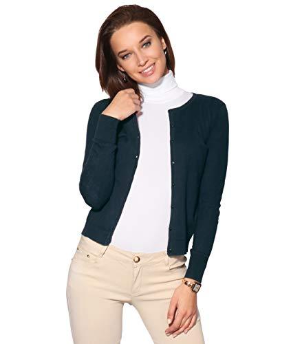 Donne Militare Marina A Basico Coprispalle Blusa Jersey Sottile Top Krisp® V Collo Cardigan Bottone TwOTqd