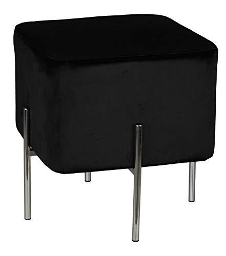 Cortesi Home Zane Contemporary Metal Legs Cube Ottoman, Black Velvet
