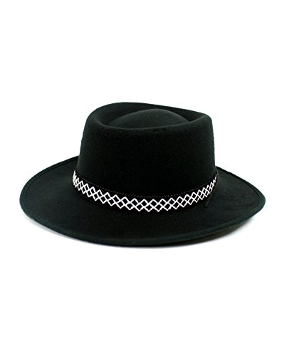 1800's Western Costumes (Men's Felt Gambler Hat with Band, Black)