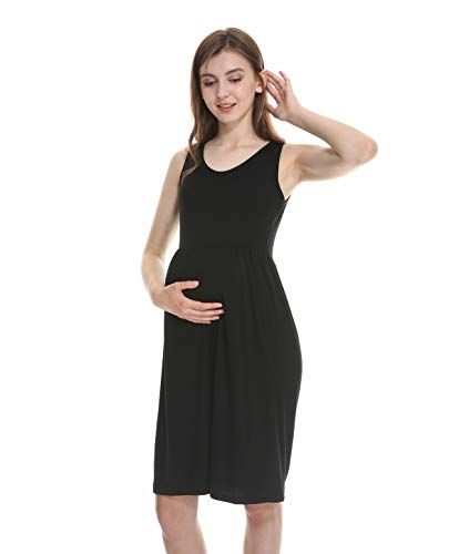 Enjoy Holiday 1981 Maternity Dress Super Soft Rayon for Summer Spring, Sleeveless, Empire Waist, for Baby Shower