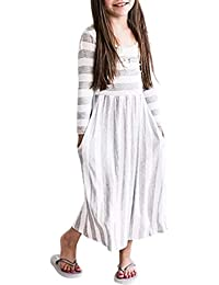 Girls Long Sleeve Striped Printed Casual Long Maxi Dress with Pocket(4-13 Years)