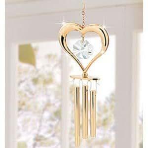 Chapado en oro cristal corazón & carillón de viento