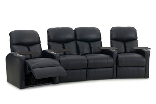 Octane Seating Bolt XS400 Theater Seats Black Leather - Power Recline - Row 4 Chairs with Loveseat - Space Saving Design