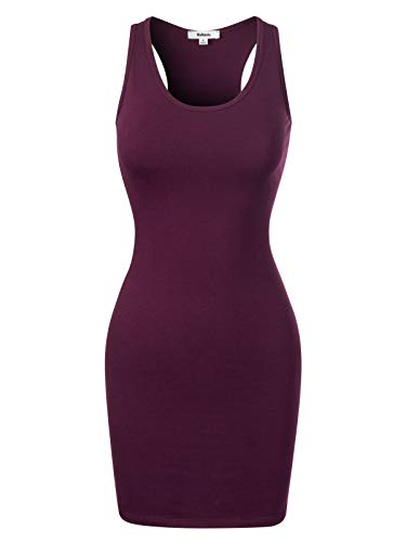 Cotton Sleeveless Dress Wrap - MixMatchy Women's Fitted Sleeveless Sexy Body-Con Racer-Back Round Neck Mini Dress Dark Plum XL
