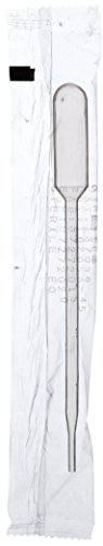 Bulb Pipet - Globe Scientific 137038 LDPE Graduated Transfer Pipet, Large Bulb, Sterile, Individually Wrapped, Cellophane Pack, 145mm Length, 5.0mL Capacity (Case of 400)
