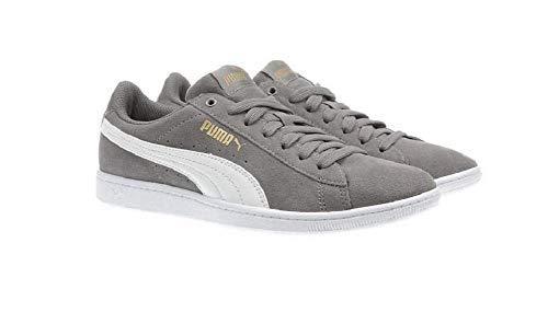 Puma Women's Vikky Soft Foam Comfort Casual Suede Sneakers (Grey, 8.5)