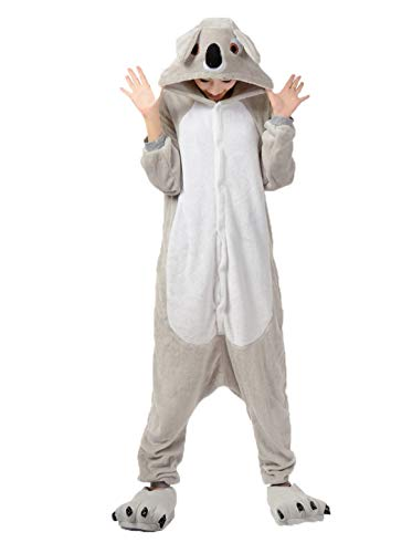 Women Halloween Adult Animal Flannel Sleepwear Set Stitch Unicorn P a Cartoon Hooded Pajamas Gray Koala M]()
