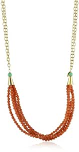 Nugaard Half-Moon of Beads at End Long Chain Necklace