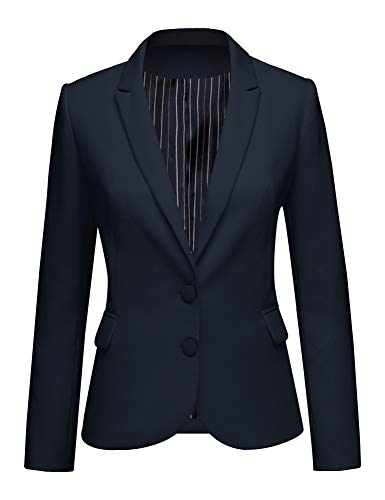 LookbookStore Women's Navy Notched Lapel Pocket Two Buttons Work Office Blazer Jacket Suit Size S US 4 6