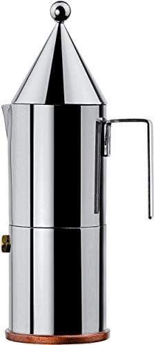 Alessi La conica 900026 Cafetera para Café Exprés de Diseño, Acero Inoxidable y Fondo en Cobre, Plateado, 3 Tazas