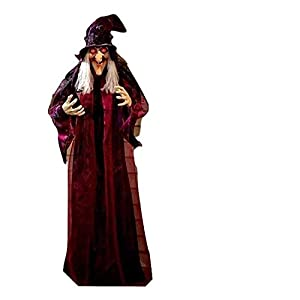 KNL Store 71″ Life Size Hanging Animated Talking Witch Halloween Haunted House Prop Decor (1)