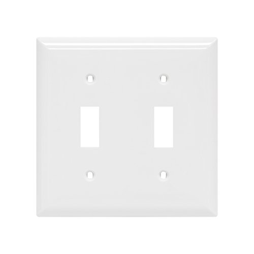 Power Gear Double Toggle Switch Wallplate, White, Unbreakable Nylon, Screws Included, UL Listed, (Double Power Outlet Cover)