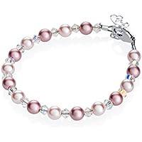 Elegant Baby Girl Gift Bracelet Swarovski Pink Rose Simulated Pearls Crystals (BPLR)