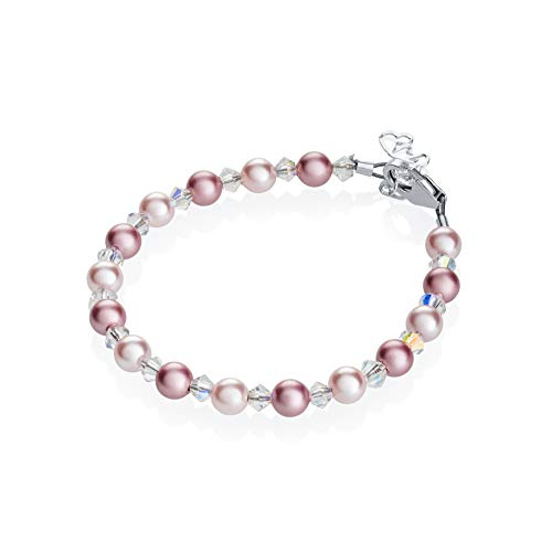 Crystal Dream Elegant Swarovski Pink and Rose Simulated Pearls White Crystals Baby Girl Gift Bracelet (BPLR_S), 0-9 MONTHS ( ()