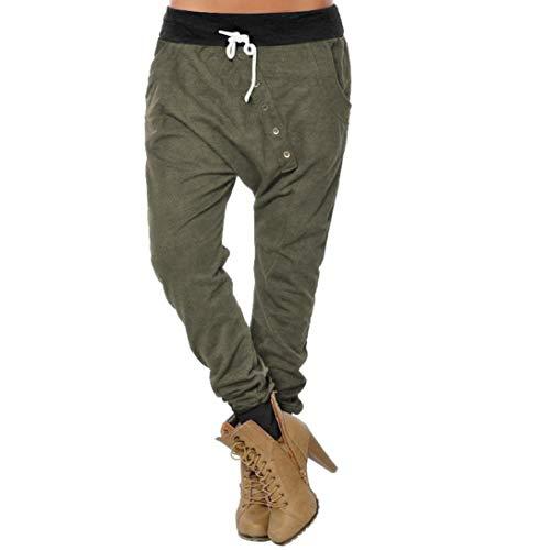 CICIYONER Botón de Mujer Hipsters Harem Pantalones Deportivos Bloomers Pantalones de Cintura Alta Pantalones Ejército