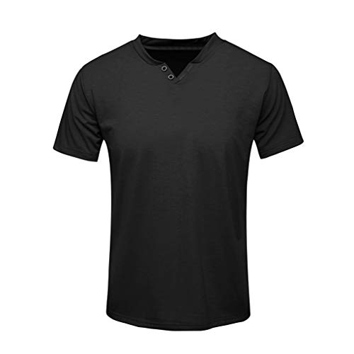 ✦◆HebeTop✦◆ Men's Premium Lightweight Ringspun Cotton Short Sleeve T-Shirt Black ()