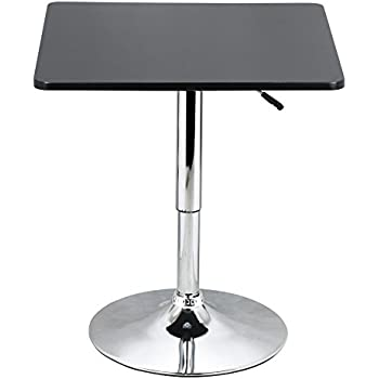 Charming Yaheetech Adjustable Bar Pub Table Black MDF Top With Silver Leg Base  27.6 35.4u0027