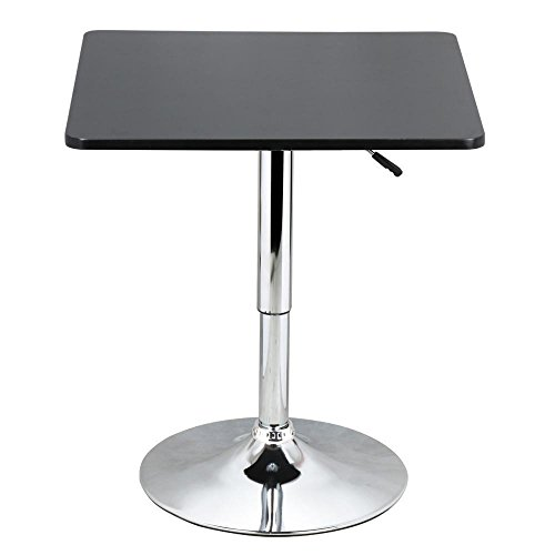 Yaheetech Adjustable Bar Pub Table Black MDF Top with Silver Leg Base 27.6-35.4'' Tall 66Lb Capacity - Black Bar Height Table