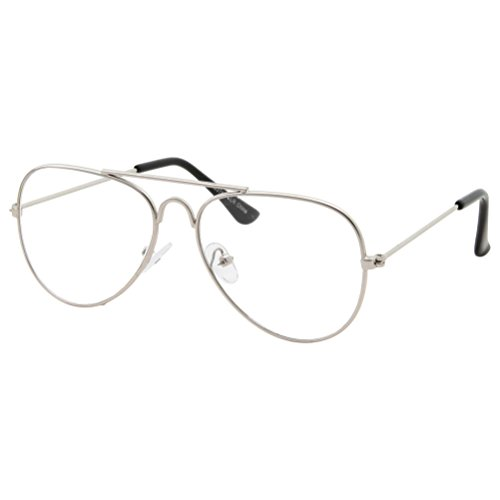 Kids Fake Aviator Eye Glasses Clear Lens Children's Non Prescription (Age 3-10), Silver