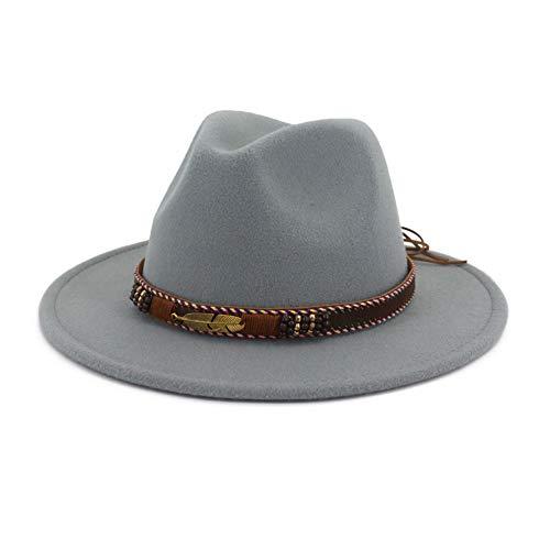 (Vim Tree Men Women Ethnic Felt Fedora Hat Wide Brim Panama Hats with Band L-Grey M (Head Circumference)
