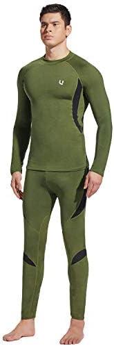 Yesurprise Men's Thermal Underwear Sets Top & Long Johns Fleece Sweat Quic