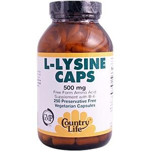 Country Life L-lysine 500 mg de b-6, 250-Comte